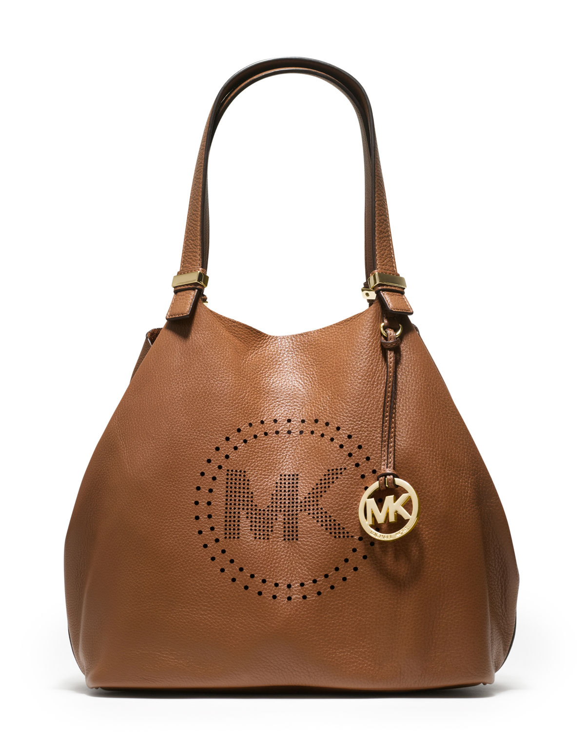 michael kors large perforated logo grab bag in brown lyst. Black Bedroom Furniture Sets. Home Design Ideas