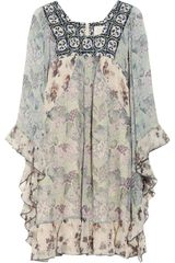 Anna Sui Printed Silk Chiffon Mini Dress - Lyst