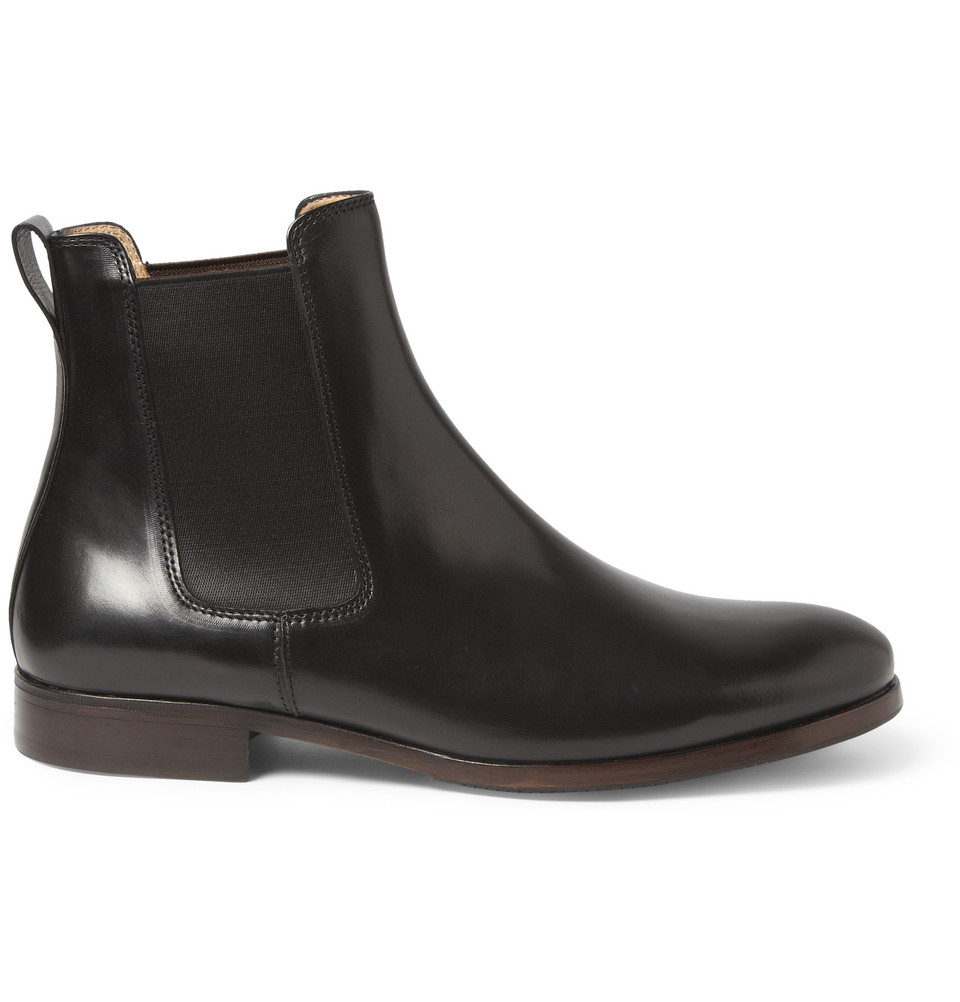 a p c leather chelsea boots in black for men lyst