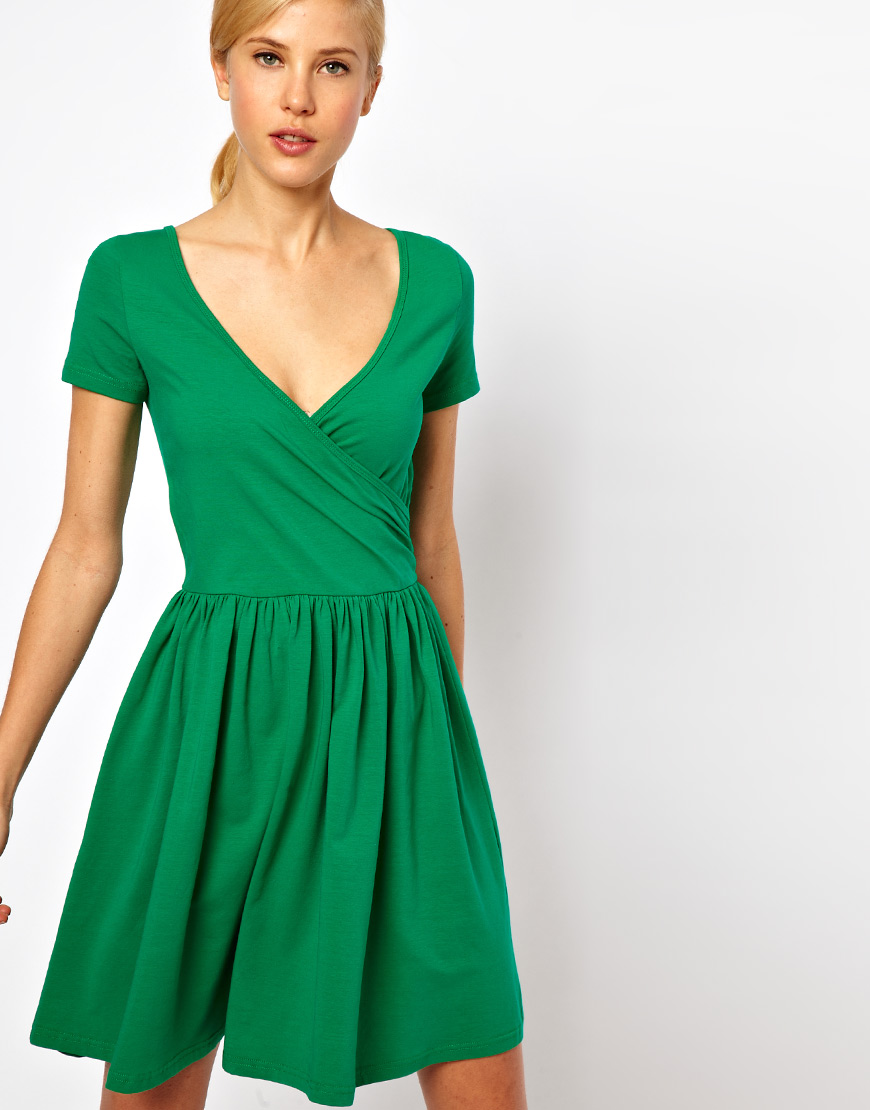 a636a11ef5bc Lyst - ASOS Skater Dress with Ballet Wrap and Short Sleeves in Green