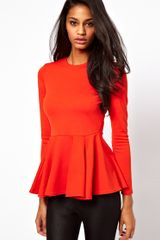 Asos Top with Peplum in Bonded Fabric - Lyst