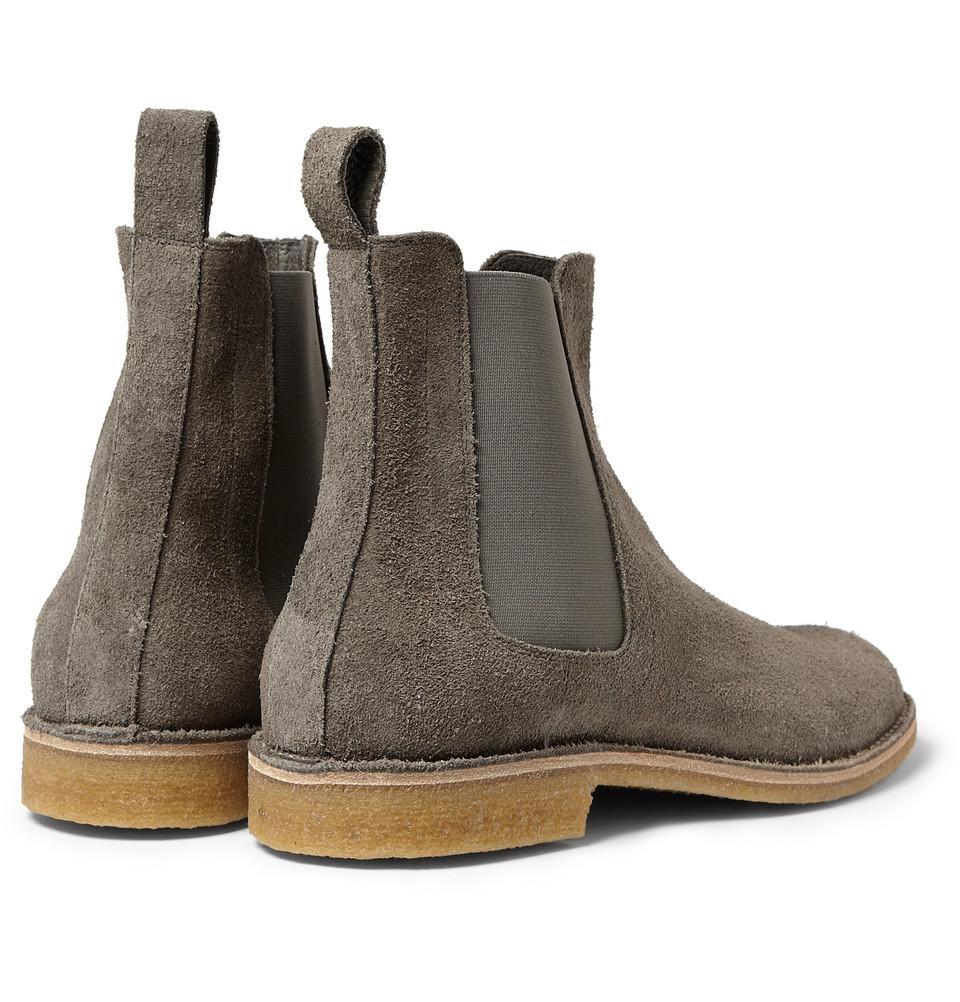 Lyst Bottega Veneta Suede Chelsea Boots In Gray For Men