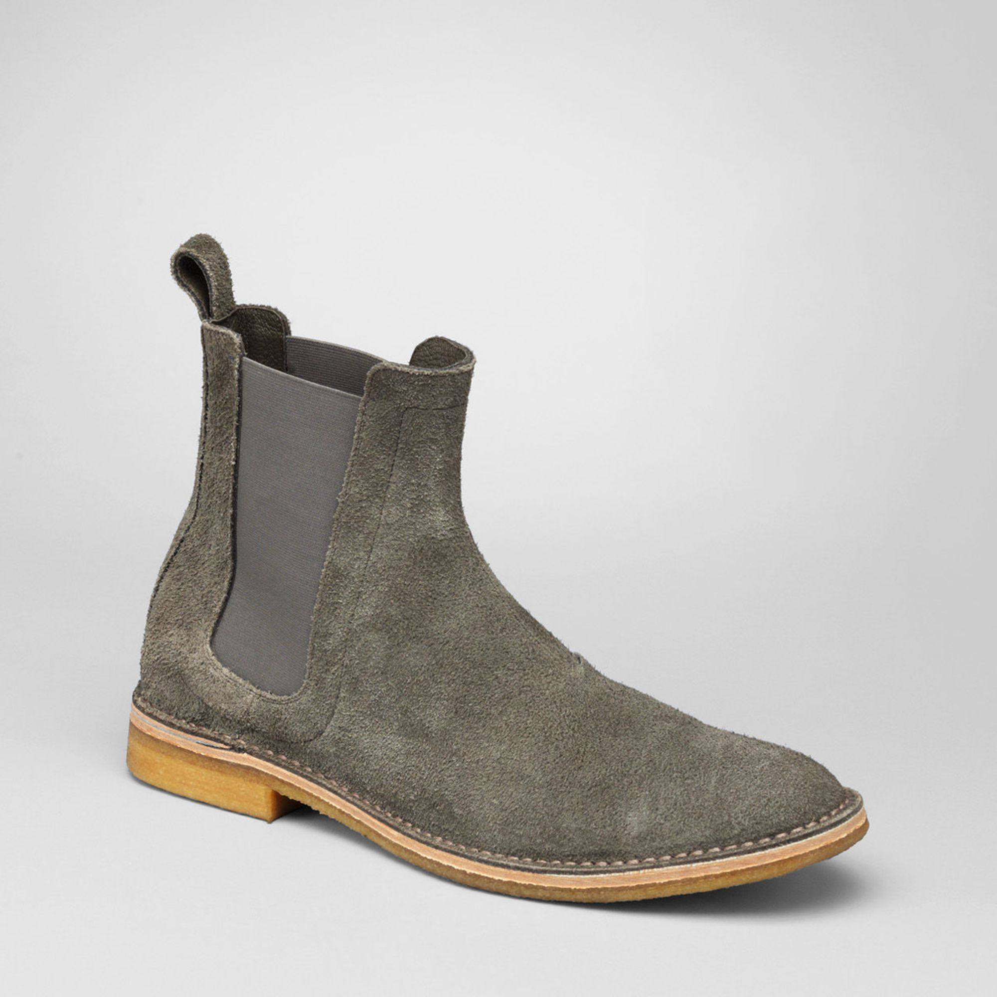 bottega veneta buffalo leather chelsea boots in gray for men shadow lyst. Black Bedroom Furniture Sets. Home Design Ideas