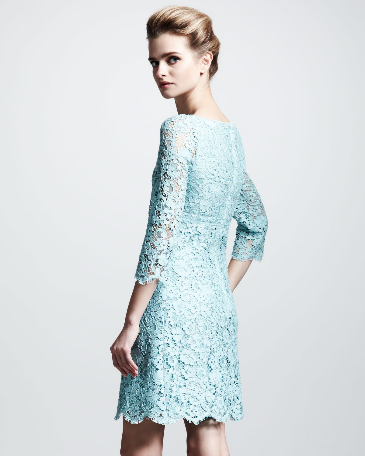 Lyst Dolce Amp Gabbana Empire Waist Lace Dress In Blue