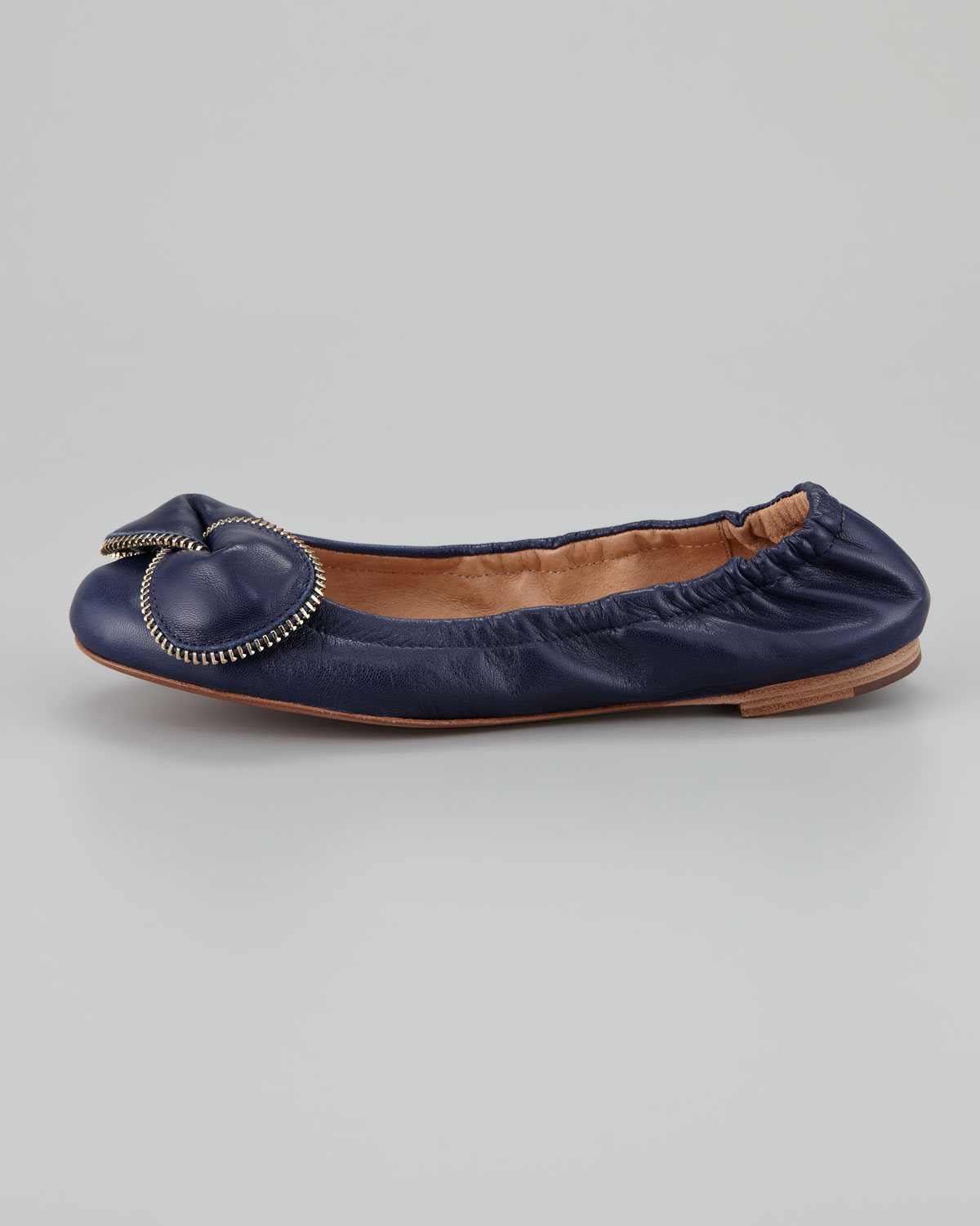 731ed969ef6e See By Chloé Zipperbow Scrunch Ballerina Flat Navy in Blue - Lyst