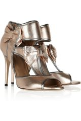 Valentino Metallic Heeled Sandals - Lyst