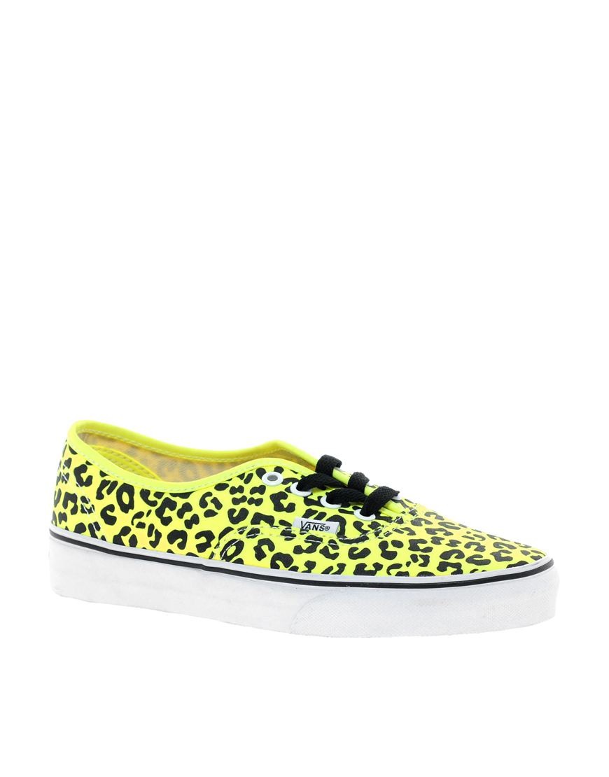 92b814d67406c7 ... fast 39523 bd163 Lyst - Vans Authentic Neon Yellow Leopard Trainers in  Yellow ...
