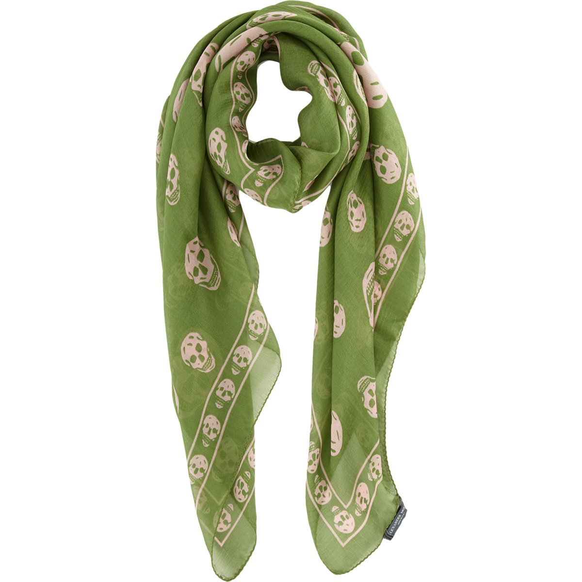 Alexander McQueen Skull Print Scarf in Green for Men - Lyst