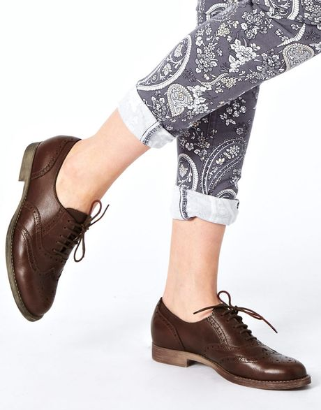 asos match leather brogues in brown lyst