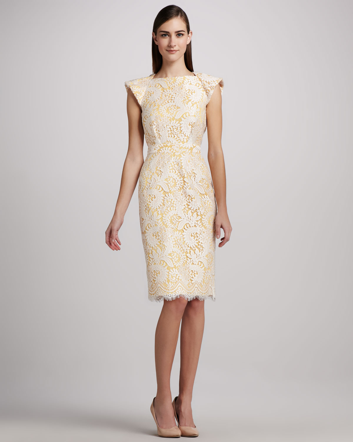 Badgley mischka Lace Cocktail Dress with Open Back in Yellow | Lyst