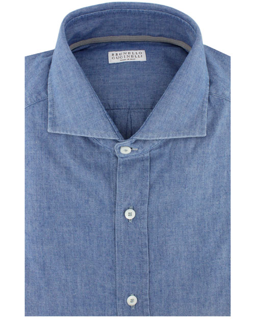 lyst brunello cucinelli chambray dress shirt in blue for men