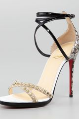 Christian Louboutin Monocronana Patent Leather and Suede Studded Sandal - Lyst