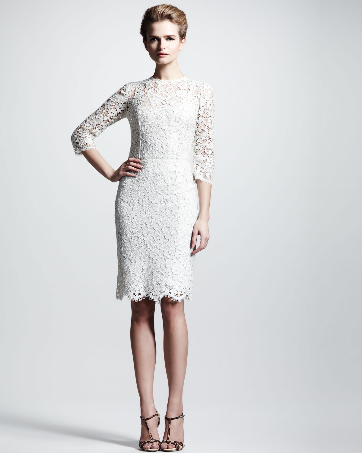 Dolce &amp- gabbana Threequarter Lace Dress in White - Lyst