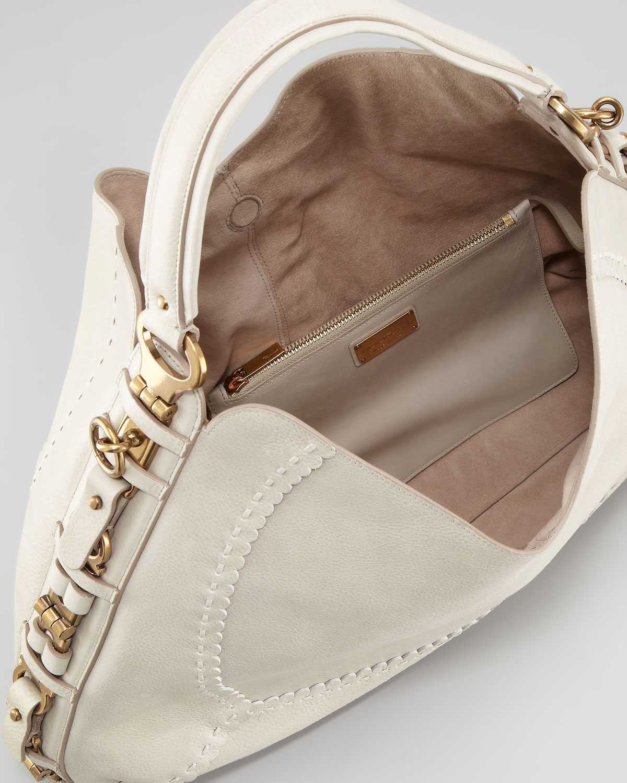 e45901a789f Lyst - Ferragamo Fergie Braided Leather Gancini Hobo Bag in Natural