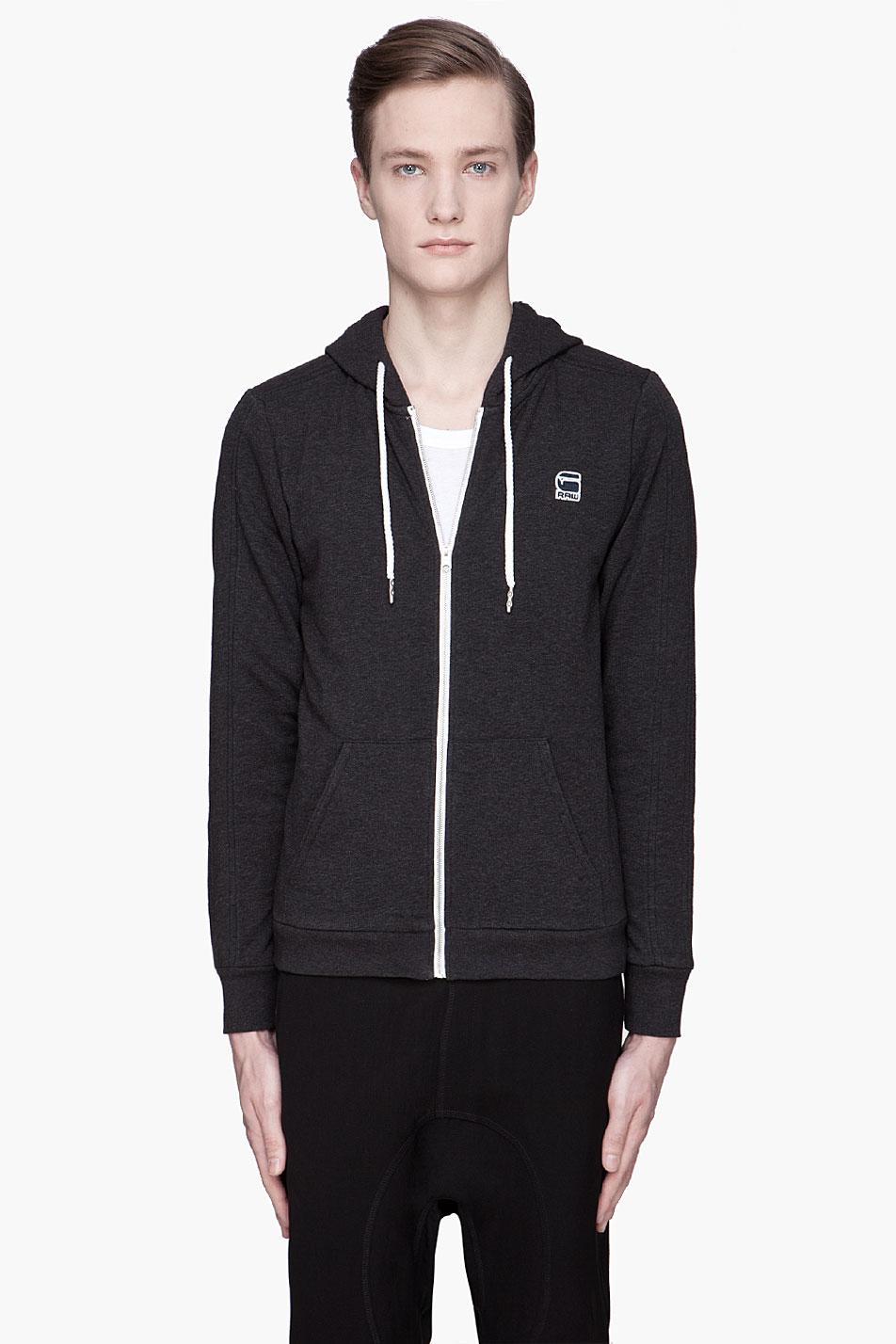 g star raw heather black carvell hoodie in black for men. Black Bedroom Furniture Sets. Home Design Ideas