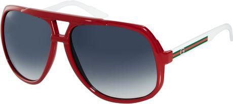 Gucci Red and White Square Aviator Sunglasses in Gray (hd8redwhite)