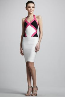 Hervé Léger Color Block Halter Bandage Dress - Lyst