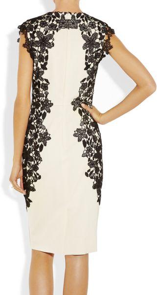 Lela Rose Lacetrimmed Stretchsateen Sheath Dress In Beige