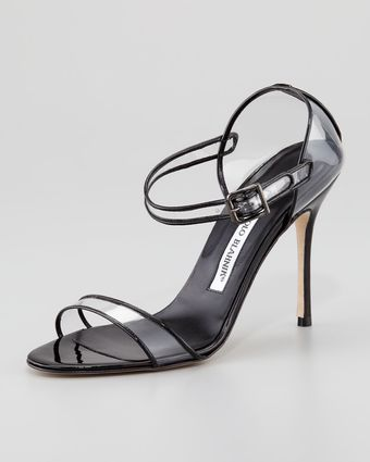 Manolo Blahnik Fersen Seethrough Mary Jane Sandal Black - Lyst