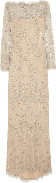 Marchesa Embellished Lace Gown - Lyst