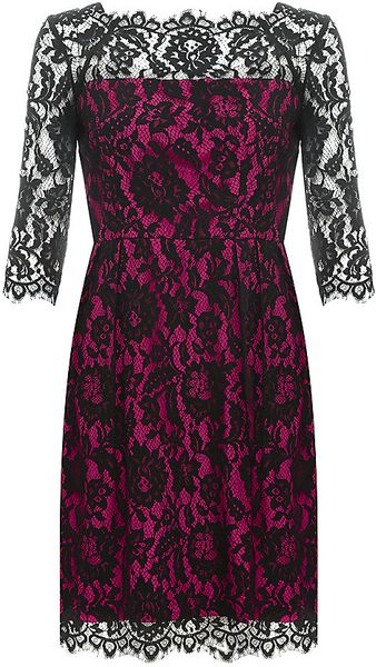 Milly Stella Lace Contrast Dress - Lyst