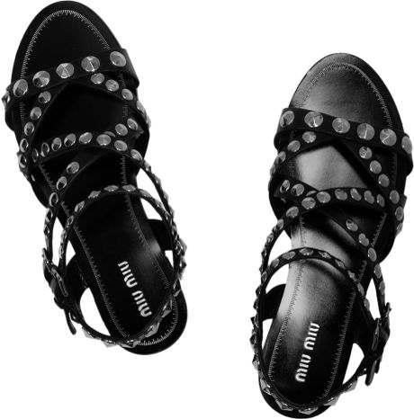 Miu Miu Studded Leather Sandals In Black Lyst