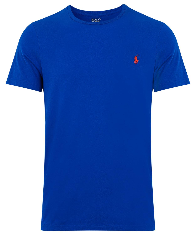 Polo Ralph Lauren Crew Neck Cotton T Shirt In Blue For Men