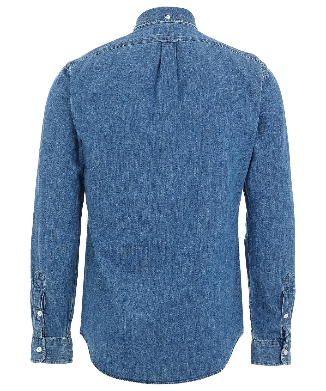 Lyst polo ralph lauren blue denim button down shirt in for Denim button down shirts