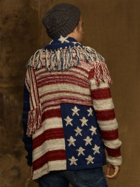 Ralph Lauren American Flag Shawl Sweater 56