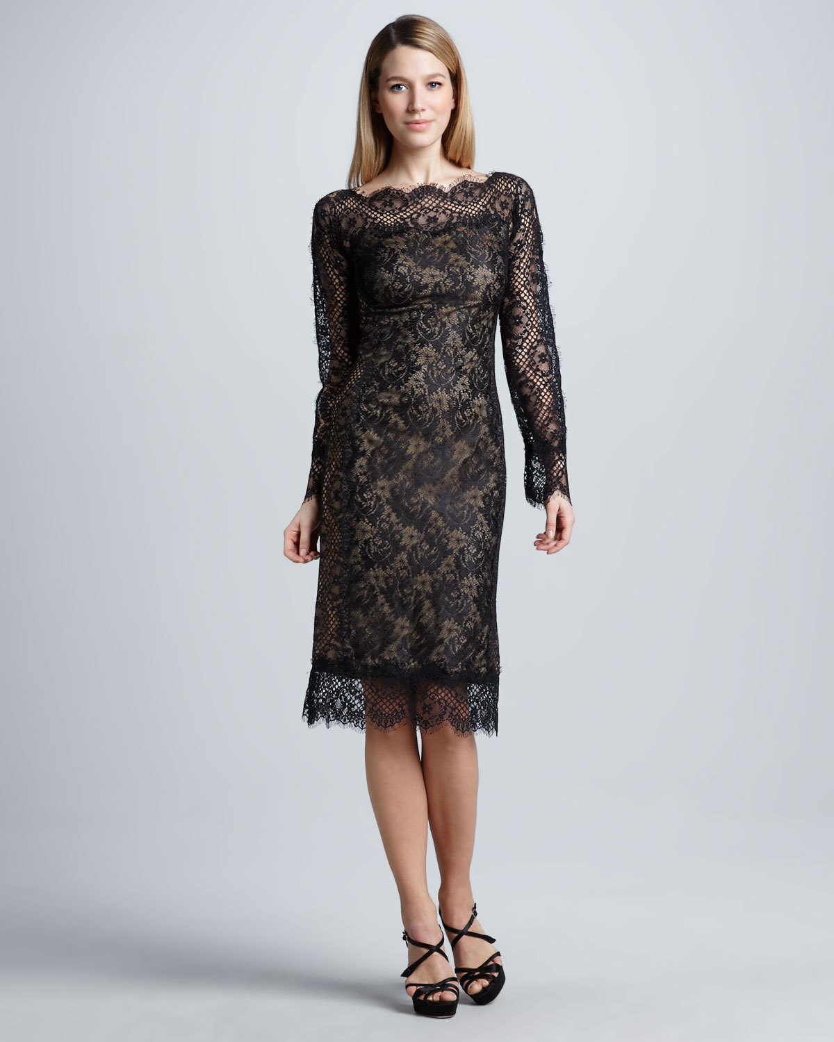 Lyst Tadashi Shoji Long Sleeve Lace Cocktail Dress In Black