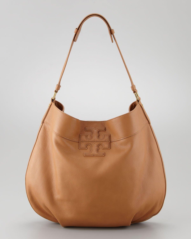 Tory burch Stacked T Hobo Bag In Tan in Brown | Lyst