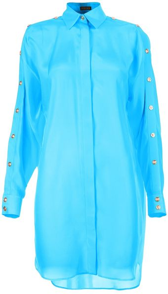 Versace Button Sleeve Oversize Shirt - Lyst