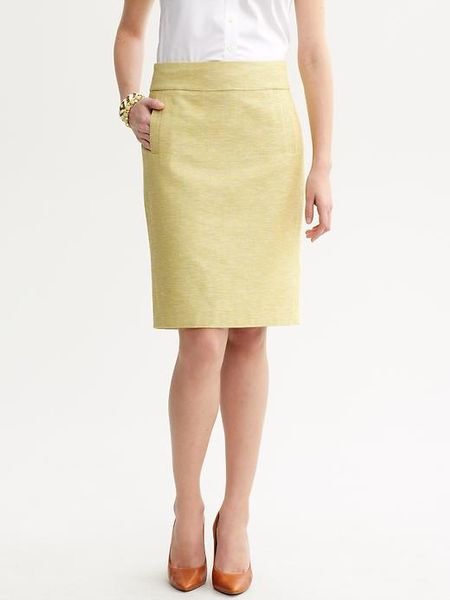 banana republic pastel tweed pencil skirt in yellow pale