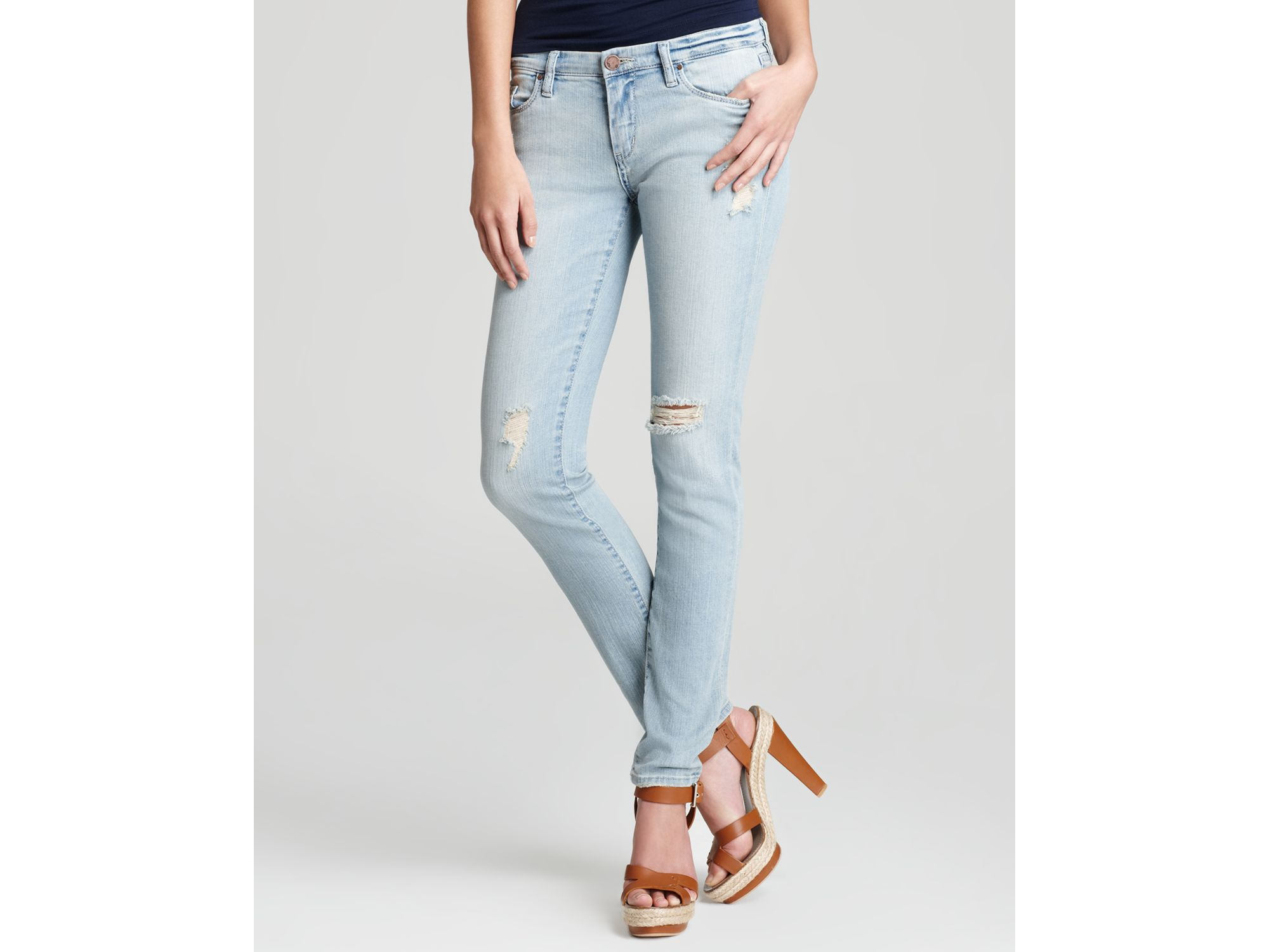 Blank Jeans Light Wash Distressed Skinny in Blue | Lyst