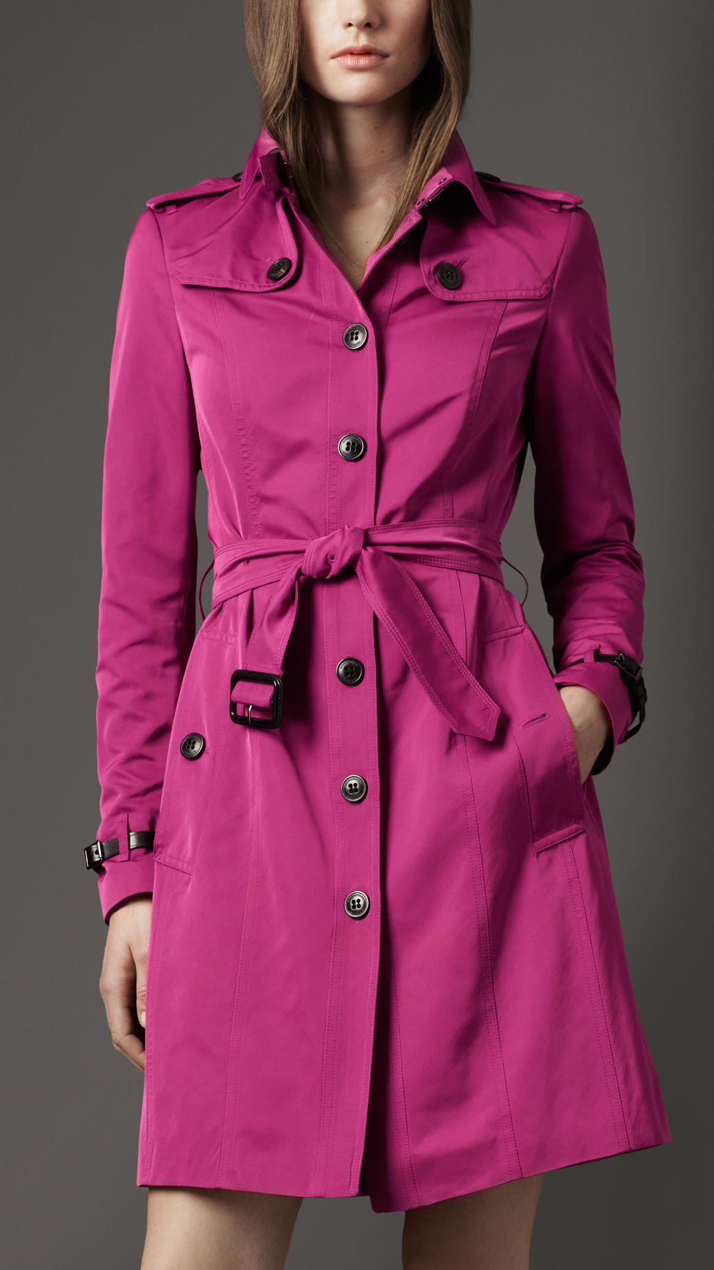 Lyst Burberry Long Pleat Detail Trench Coat In Purple
