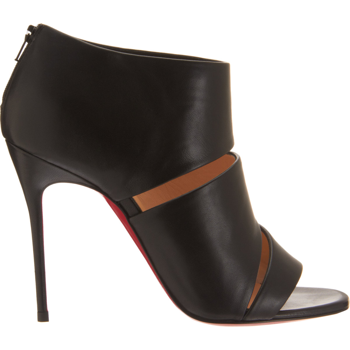 christian louboutin round-toe ankle boots Black leather cutouts ...