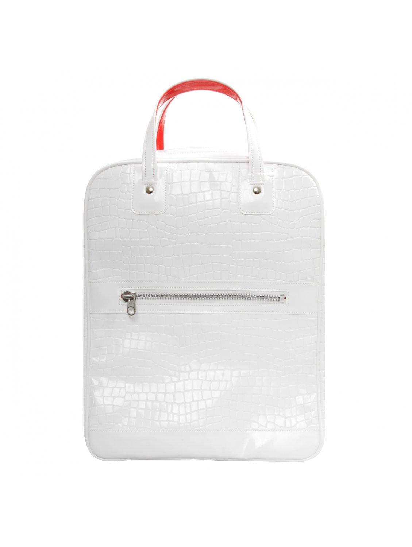 Comme des garçons Patent Croc Zip Travel Bag White in White | Lyst