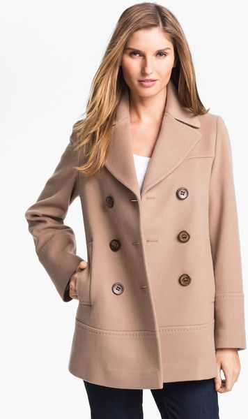 Fleurette Double Breasted Loro Piana Wool Peacoat in (start of color