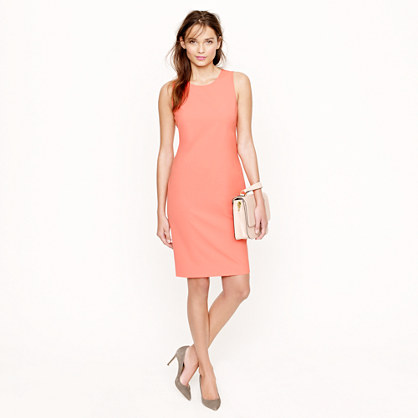 J.crew Sleeveless Shift Dress in Stretch Wool in Pink | Lyst
