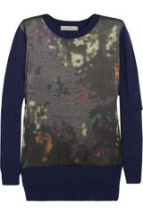 Preen Line Abstract A-Line Printed Satin and Knitted Sweater - Lyst