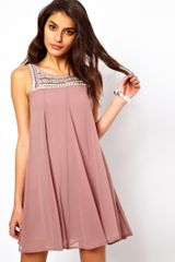 Tfnc Swing Dress with Embellished Bib - Lyst