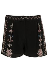 Topshop Aztec Embroidered Shorts - Lyst