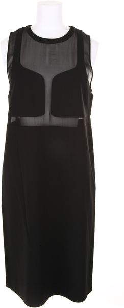 Alexander Wang Black Dress in Viscose and Elastane with Semisheer Panels - Lyst