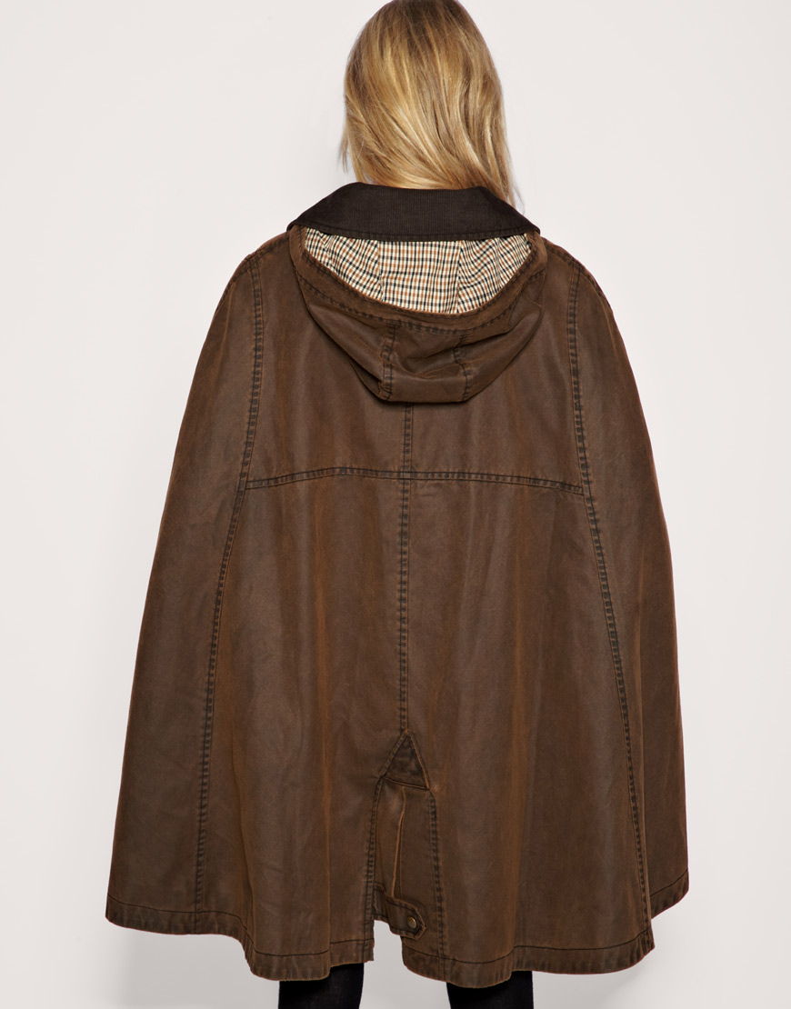 Lyst Asos Collection Asos Waxed Cotton Cape In Brown