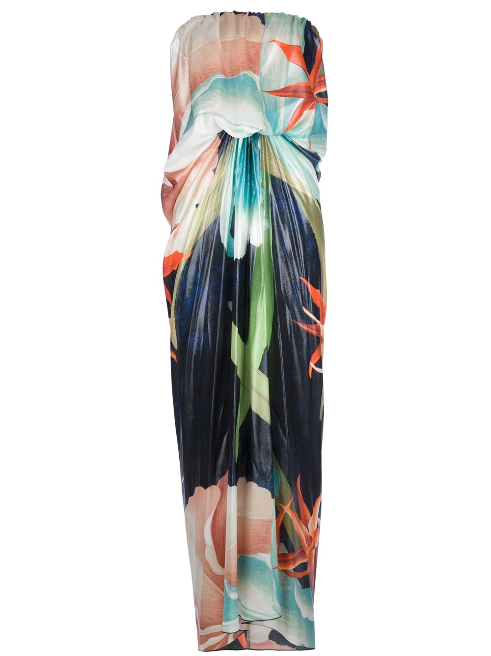 Lanvin Hawaiian Print Maxi Dress in Blue Lyst