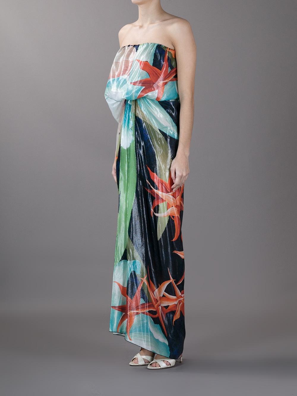 Lanvin Hawaiian Print Maxi Dress in Blue | Lyst