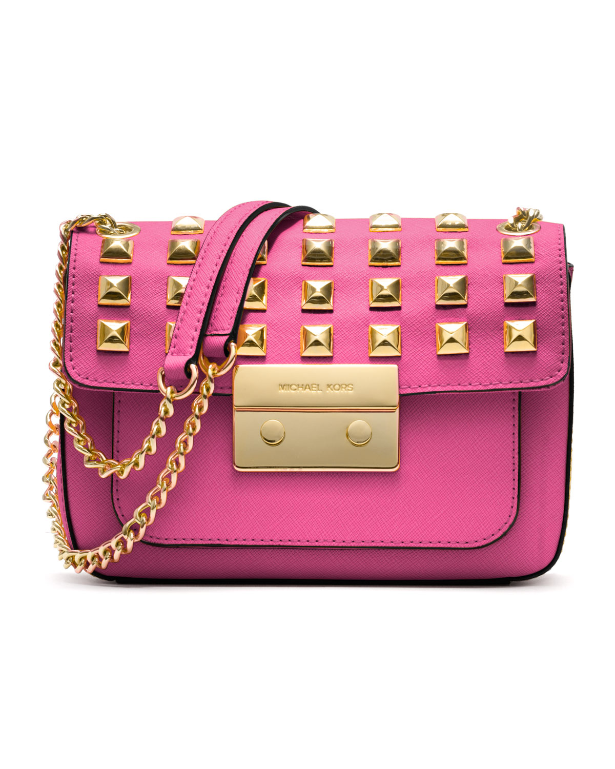 93773c85ba75 ... discount lyst michael michael kors small sloan studded shoulder bag in  pink cd316 bbd17