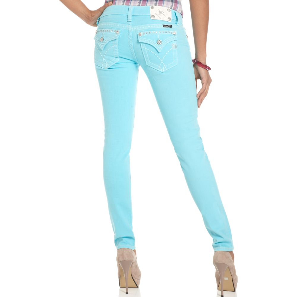 Gallery - Miss Me Jeans Skinny Studdedpocket Aqua Blue Wash In Blue Lyst