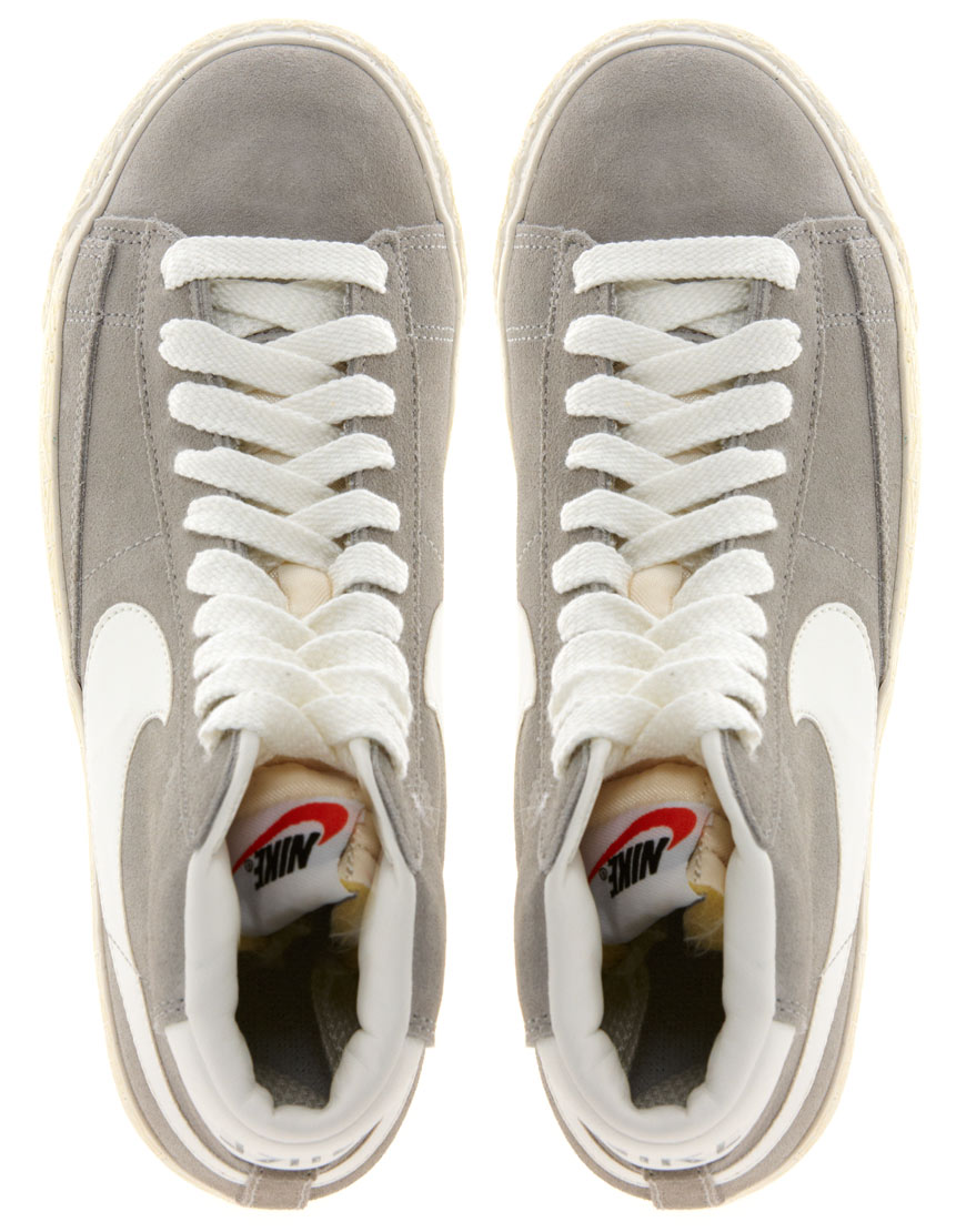 outlet store 7326b 4cd16 Nike Blazer Mid Grey Suede Trainers in White - Lyst