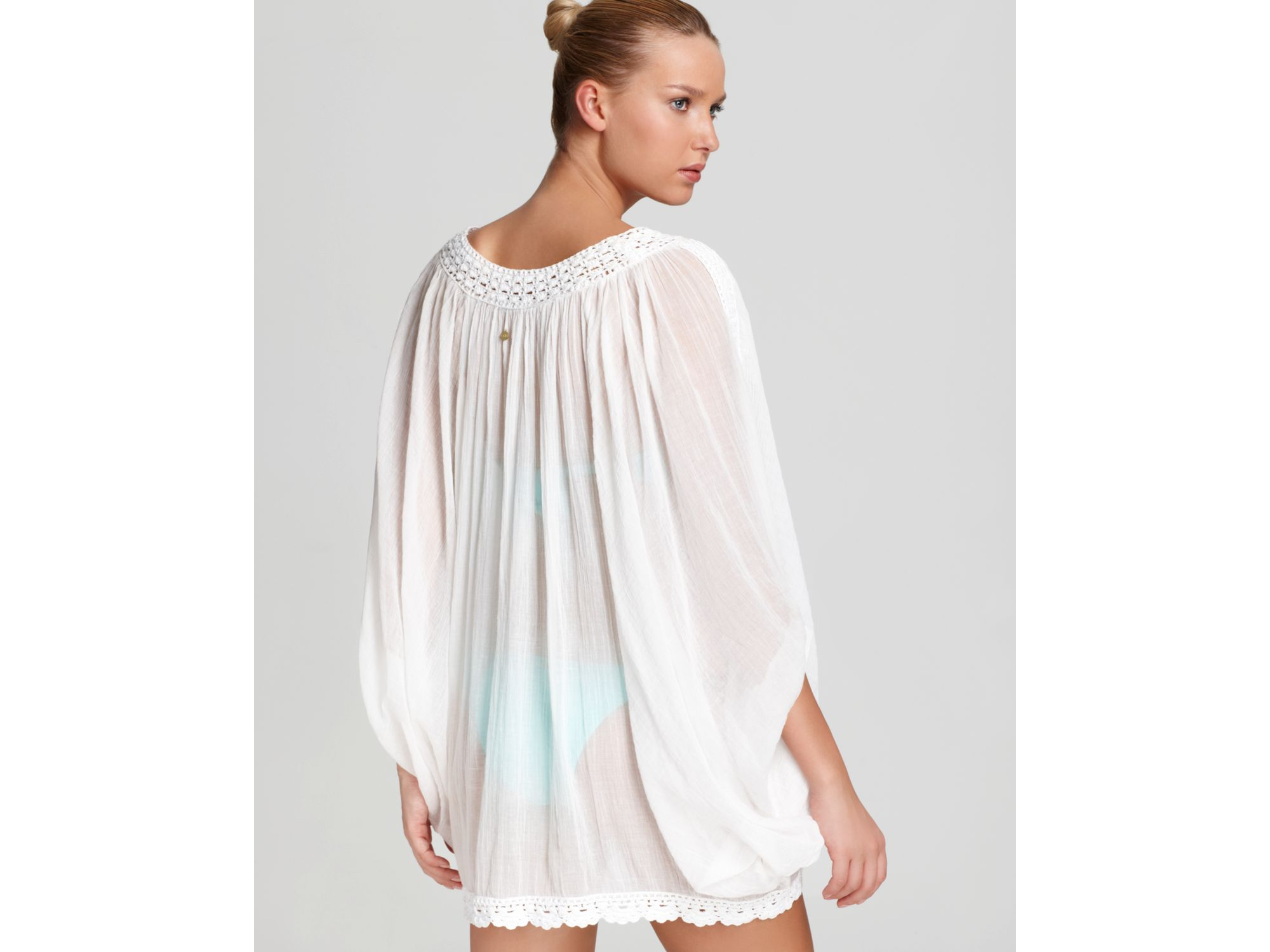 40972cfc6eb OndadeMar Swim Coverup Cotton Gauze and Crochet Tunic in White - Lyst